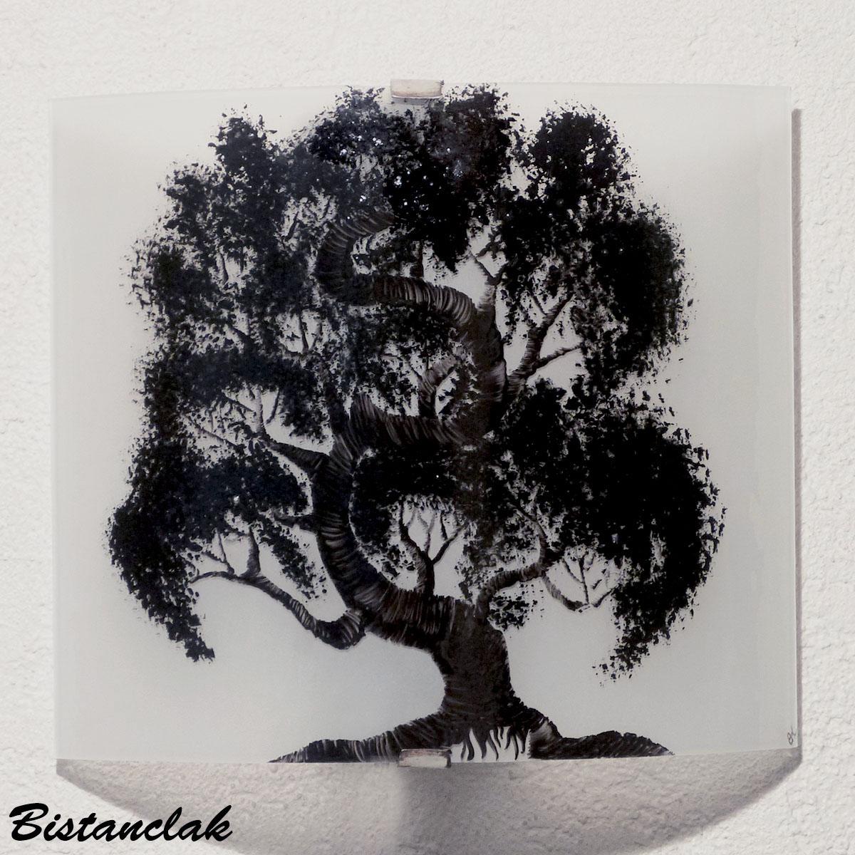 Applique murale blanche motif bonsai
