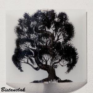 Applique murale blanche motif bonsai