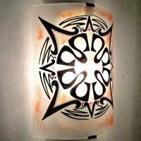 Applique murale demi cylindre motif mandala inca rouge 8