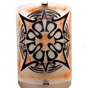 Applique murale demi cylindre motif mandala inca rouge 9