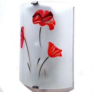 Applique murale eclairante blanche a motif 3 coquelicots rouges 6
