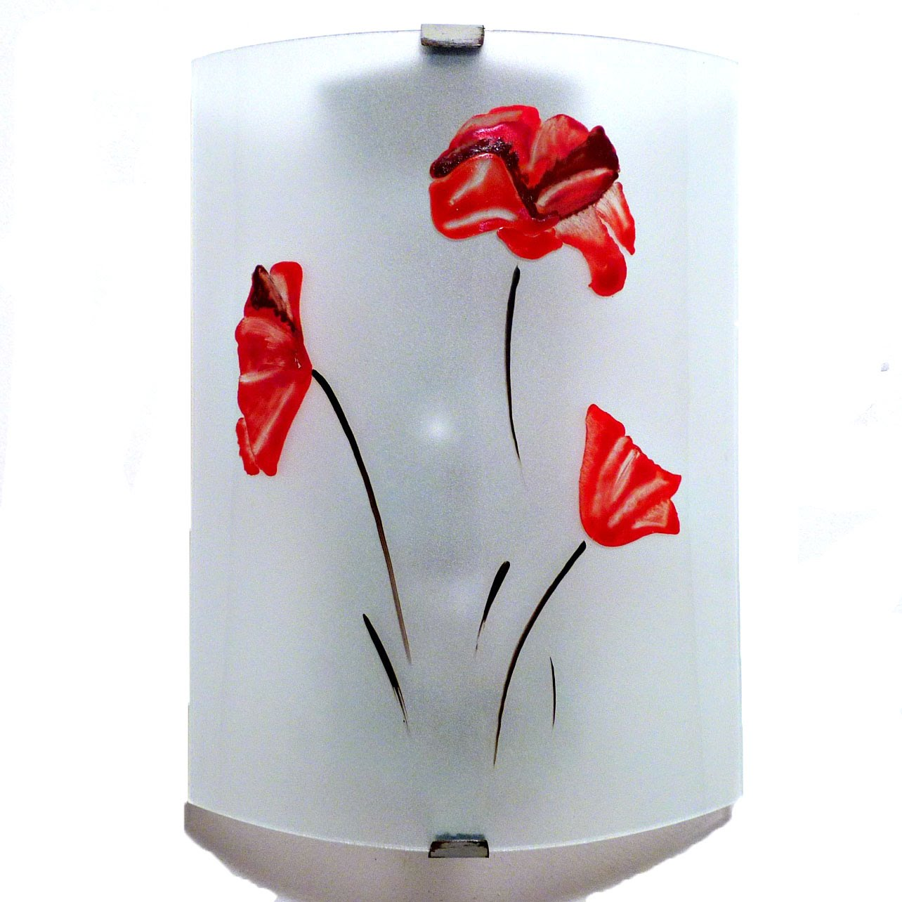 luminaire mural blanc motif trois coquelicots rouge. Black Bedroom Furniture Sets. Home Design Ideas