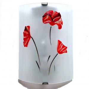 Applique murale eclairante blanche motif 3 coquelicots rouges 8