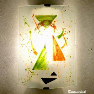 Applique décorative géométrique orange et verte motif triangle
