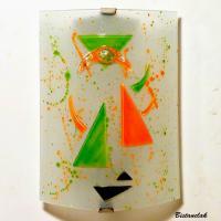 Applique décorative géométrique orange et vert motif triangle