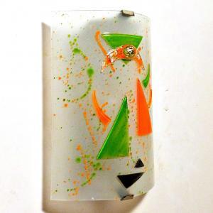 Applique murale eclairante blanche orange et verte design geometrique 4