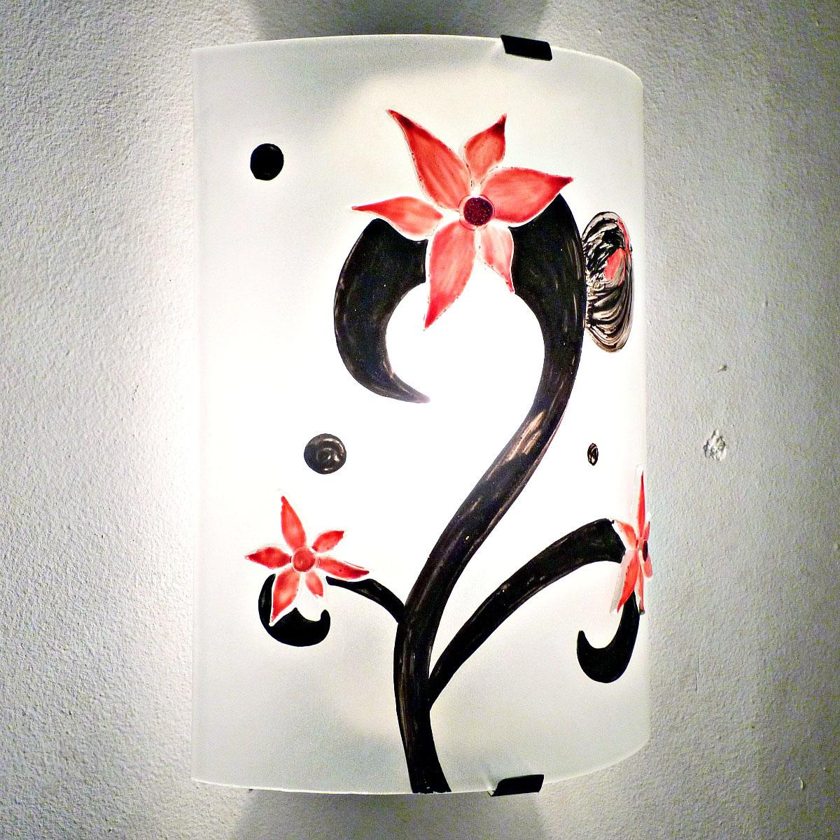 Applique murale eclairante motif fleurs etranges rouge 1
