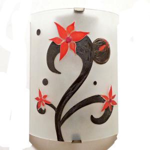 Applique décorative éclairante motif trois fleurs rouges sur volute noire (1)