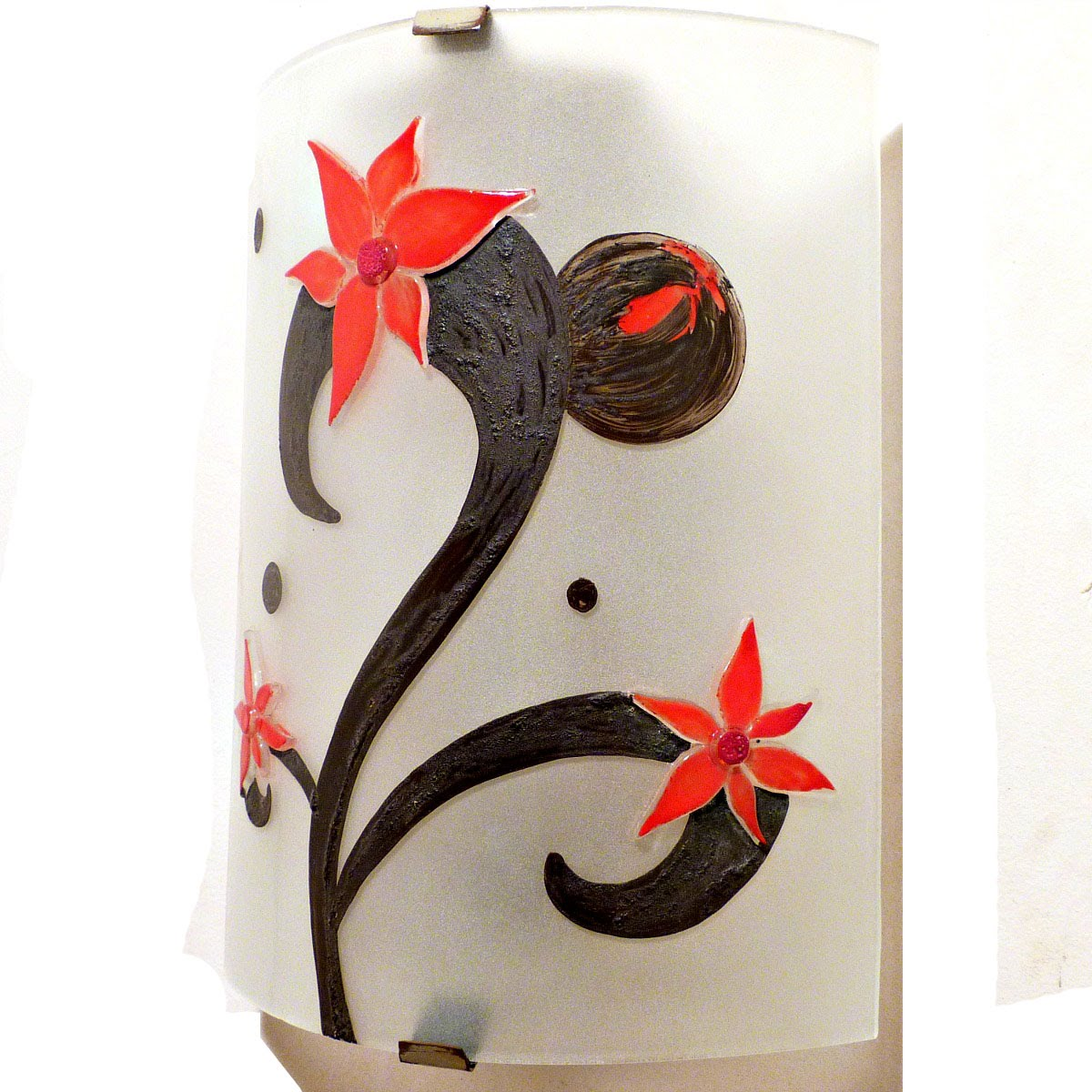 Applique murale eclairante motif fleurs etranges rouge 4 1