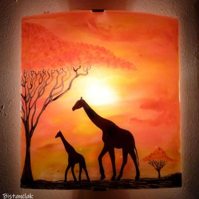 Applique murale en verre jaune orange rouge motif girafe grand format