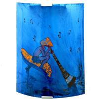 Applique murale fantaisie bleu et orange motif lutin joueur de didjeridoo sur un chamipgnon geant 2