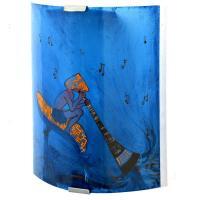 Applique murale fantaisie bleu et orange motif lutin joueur de didjeridoo sur un chamipgnon geant 3