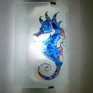 Applique murale hyppocampe bleu orange 1