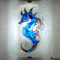 Applique murale hyppocampe bleu orange 2