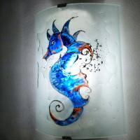 Applique murale hyppocampe bleu orange 7