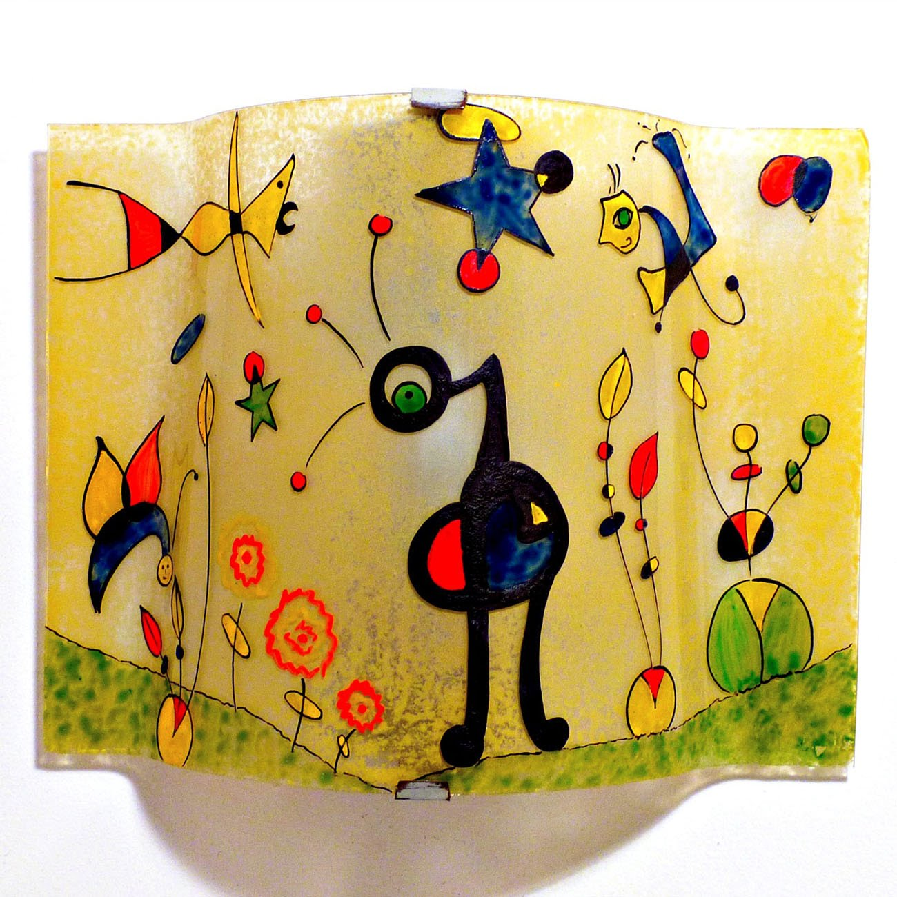 Applique jaune et multicolore motif le jardin grand de miro 2