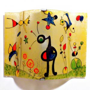 Applique jaune et multicolore motif le jardin grand de miro