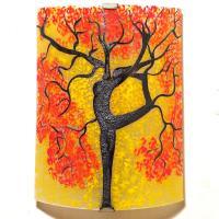 Applique artisanale jaune et rouge motif arbre danseuse vendue en ligne