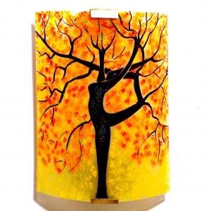 Applique murale artisanale jaune motif arbre danseuse rouge et orange