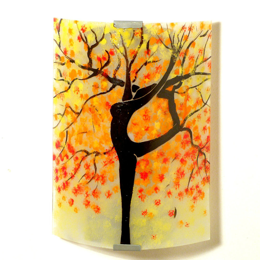 applique murale jaune pastel l 39 arbre danseuse orange rouge. Black Bedroom Furniture Sets. Home Design Ideas