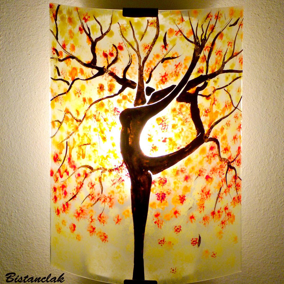 Applique murale jaune orange rouge pastel motif arbre danseuse 6