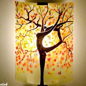 Applique murale jaune orange rouge pastel motif arbre danseuse 8