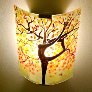 Applique murale jaune orange rouge pastel motif arbre danseuse 9
