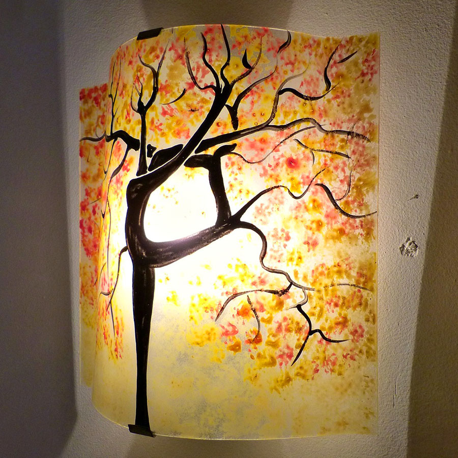 Applique murale jaune pastel orange rouge motif arbre danseuse 2