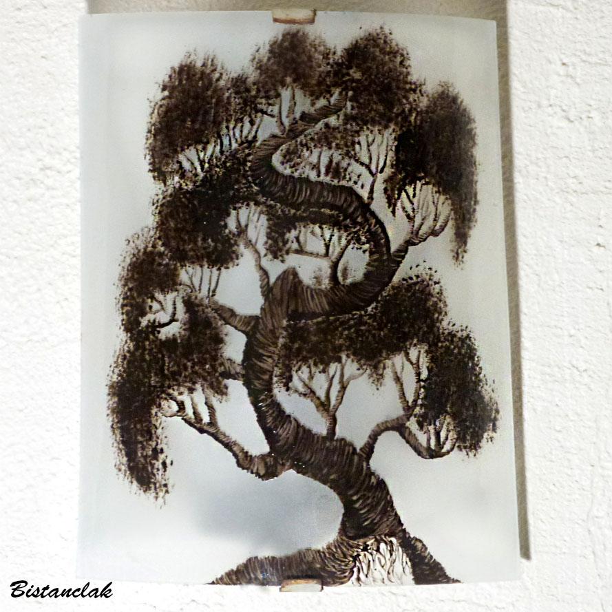 Applique noir et blanc motif bonsai