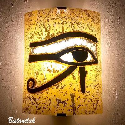 Applique jaune motif oeil d'horus