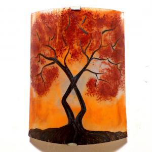 Applique murale orange motif l'arbre de jane au feuillage rouge foncé