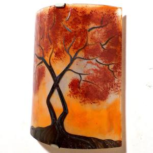 Applique artisanale orange motif l'arbre de jane au feuillage rouge