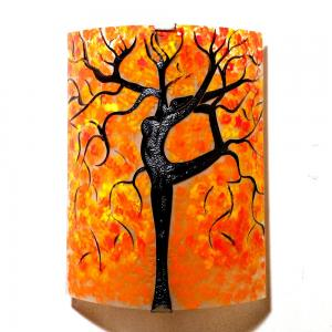 Applique murale orange motif arbre danseuse jaune et rouge 4