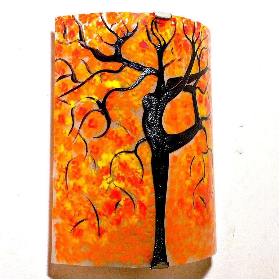 Applique murale orange motif arbre danseuse jaune et rouge 5