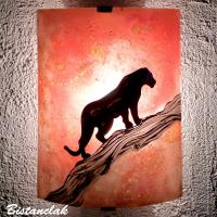 Applique murale orange motif panthere noire