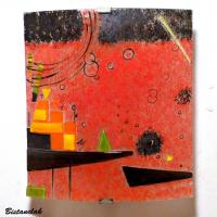 Applique murale rouge motif geometrique inspiration kandinsky