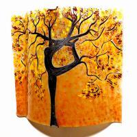 Applique murale sable jaune bordeau motif arbre danseuse 1