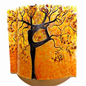 Applique murale sable jaune bordeau motif arbre danseuse 1