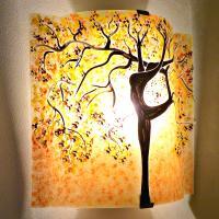 Applique murale sable jaune bordeau motif arbre danseuse 4