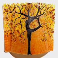 Applique murale sable jaune bordeau motif arbre danseuse 6