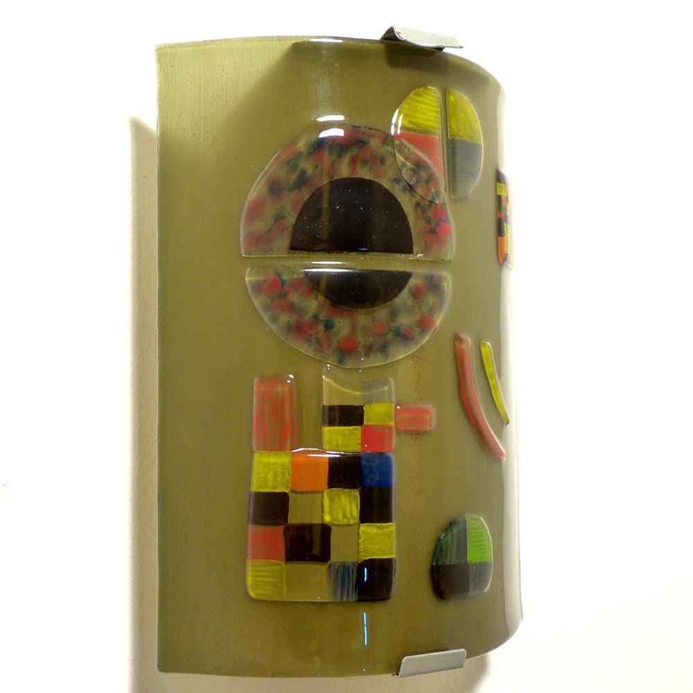 Applique murale taupe et multicolore inspire de gravite de kandinsky 7