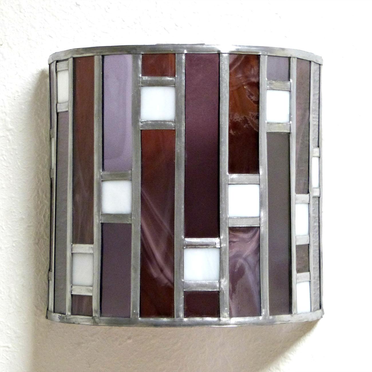 Applique murale vitrail art deco forme demi cylindre rose et violet 2 1