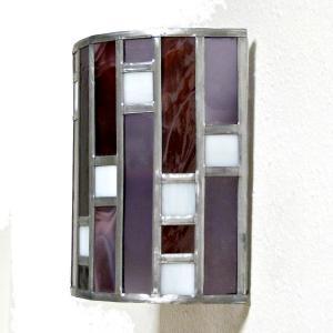 Applique murale vitrail art deco forme demi cylindre rose et violet 3 1