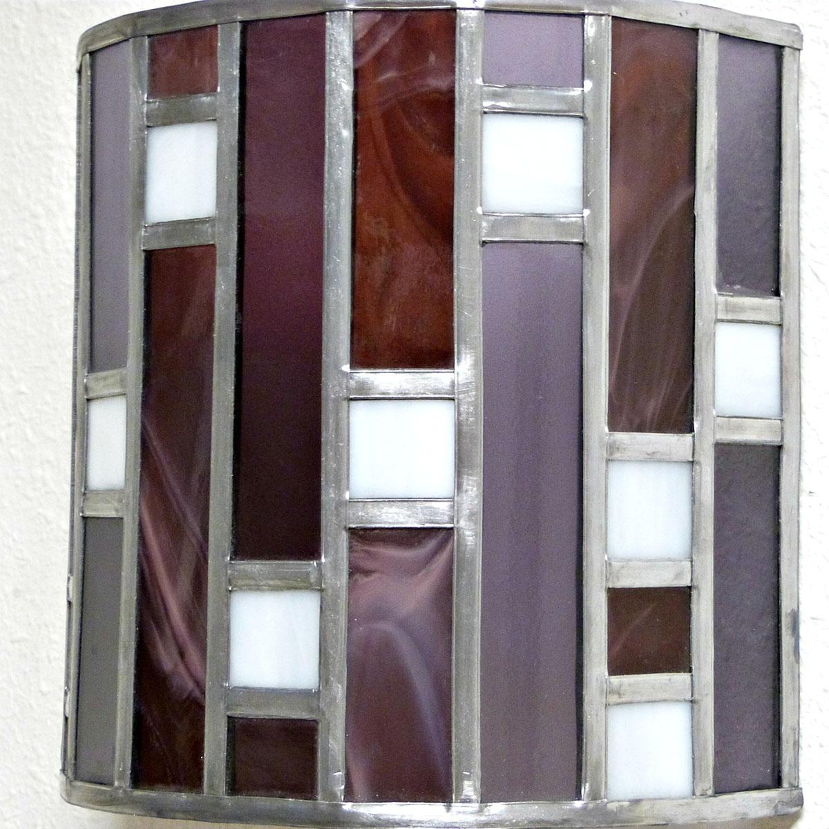 Applique murale vitrail art deco forme demi cylindre rose et violet 4 1