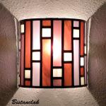 Applique murale vitrail art deco forme demi cylindre rose et violet 5 1