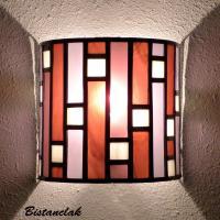Applique vitrail art deco forme demi cylindre rose et violet
