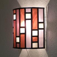 Applique murale vitrail art deco forme demi cylindre rose et violet 6 1