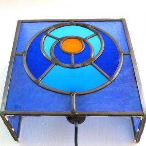 Applique murale vitrail bleu et orange cercle dans le cercle 3 1