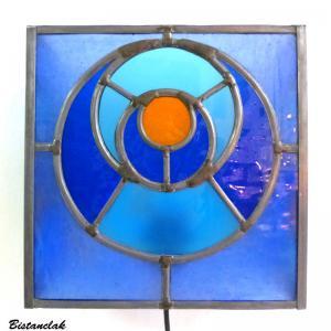 Applique murale vitrail bleu et orange cercle dans le cercle 4 1