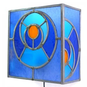 Applique murale vitrail bleu et orange cercle dans le cercle 5 1